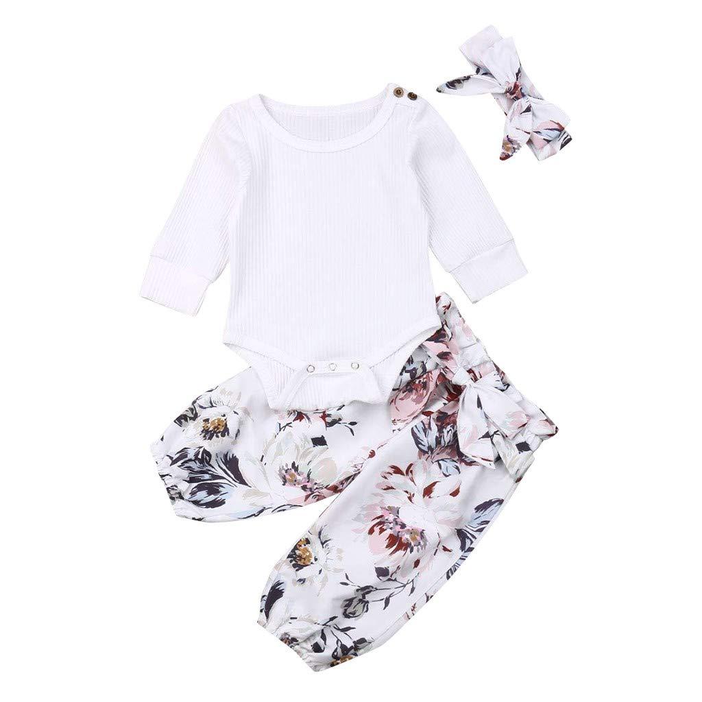 Baby Girl Cotton Bodysuit Set, Smilvy 0-24M Toddler Romper Tops +Floral Pants+Headband Clothes Outfit-3pcs