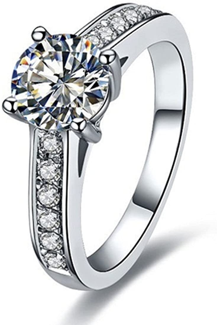 THREE MAN Sterling Silver 1CT Brand Engagement Ring for Women NSCD Simulated Diamond 4 Prongs Setting