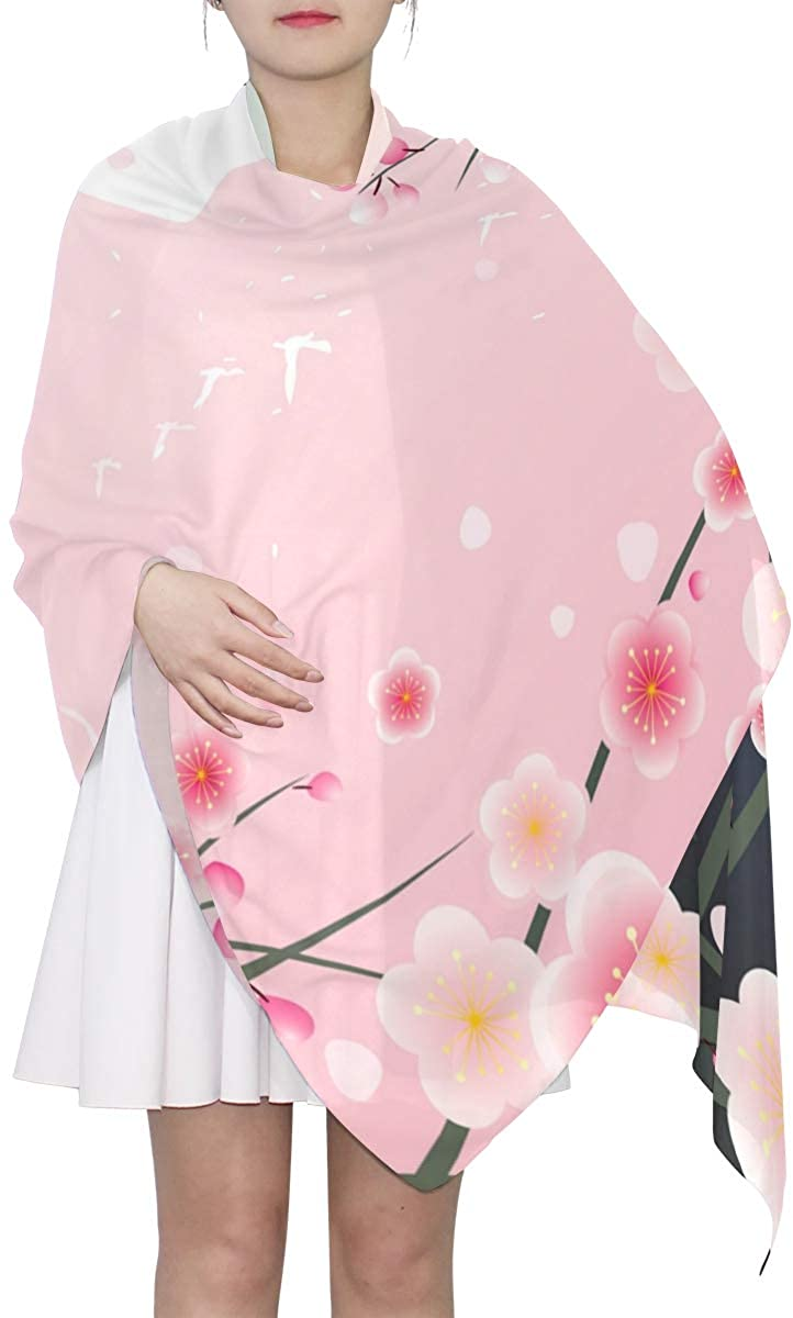 EELa Long Scarf Women Polyester Lightweight Cherry Soft Fashion Printed Wrap Shawl Spring Winter 70x35in