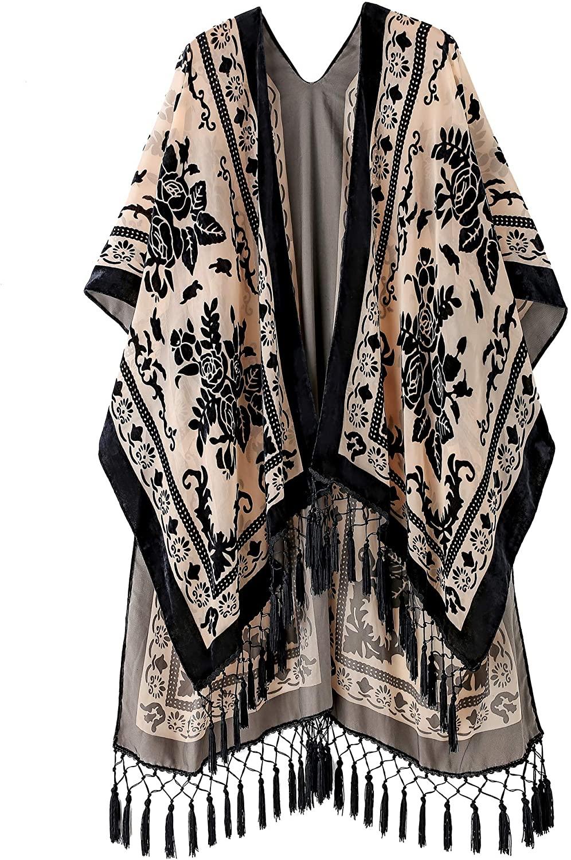 SERECA Women's Burnout Velvet Kimono Long Cardigan Cover Up with Tassel