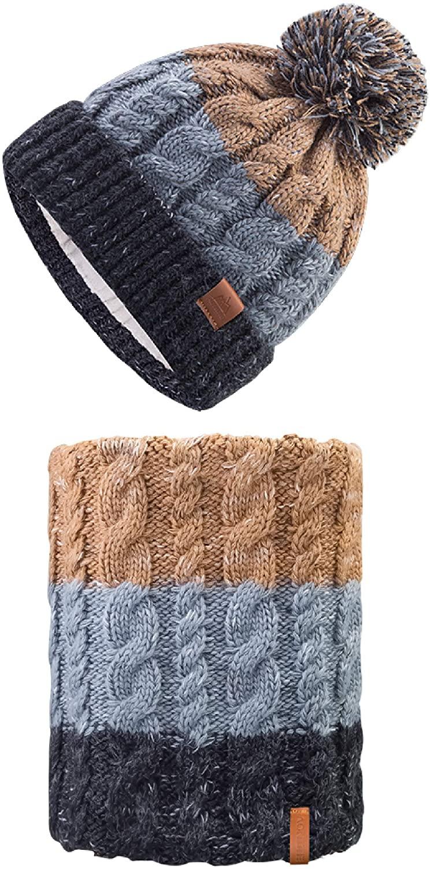 TRIWONDER Winter Knit Beanie Hat Scarf Set Warm Skull Cap Fleece Neck Warmer Gaiter for Men and Women