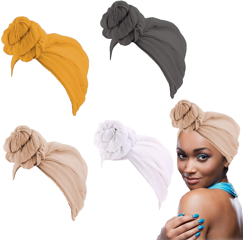 4 Pieces Head Wrap Scarf Stretch Turban for Women Long Hair Scarf African Long Scarf Turban Shawl Hair Headwrap