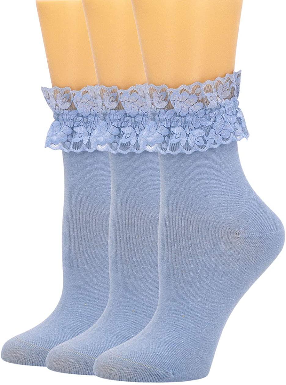 SEMOHOLLI Women Socks, Lace Ruffle Frilly Comfortable No-Show Cotton Socks Princess Socks Lace Socks