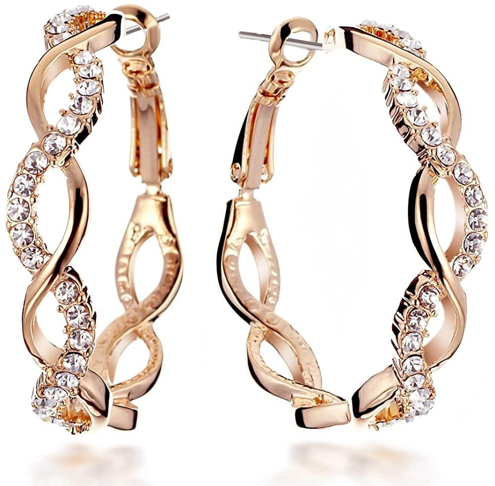 Gemini Women 18K Fill Swarovski Zirconia Round Big Hoop Pierced Earring birthday Gift Sz 4cm Diameter