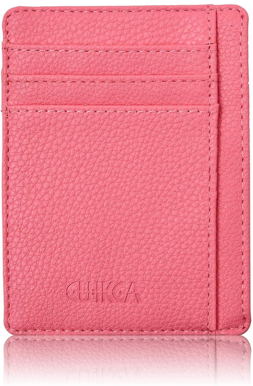 Slim Minimalist Wallet, Front Pocket Leather Wallets, for Men Women Credit Card Holder (pink)