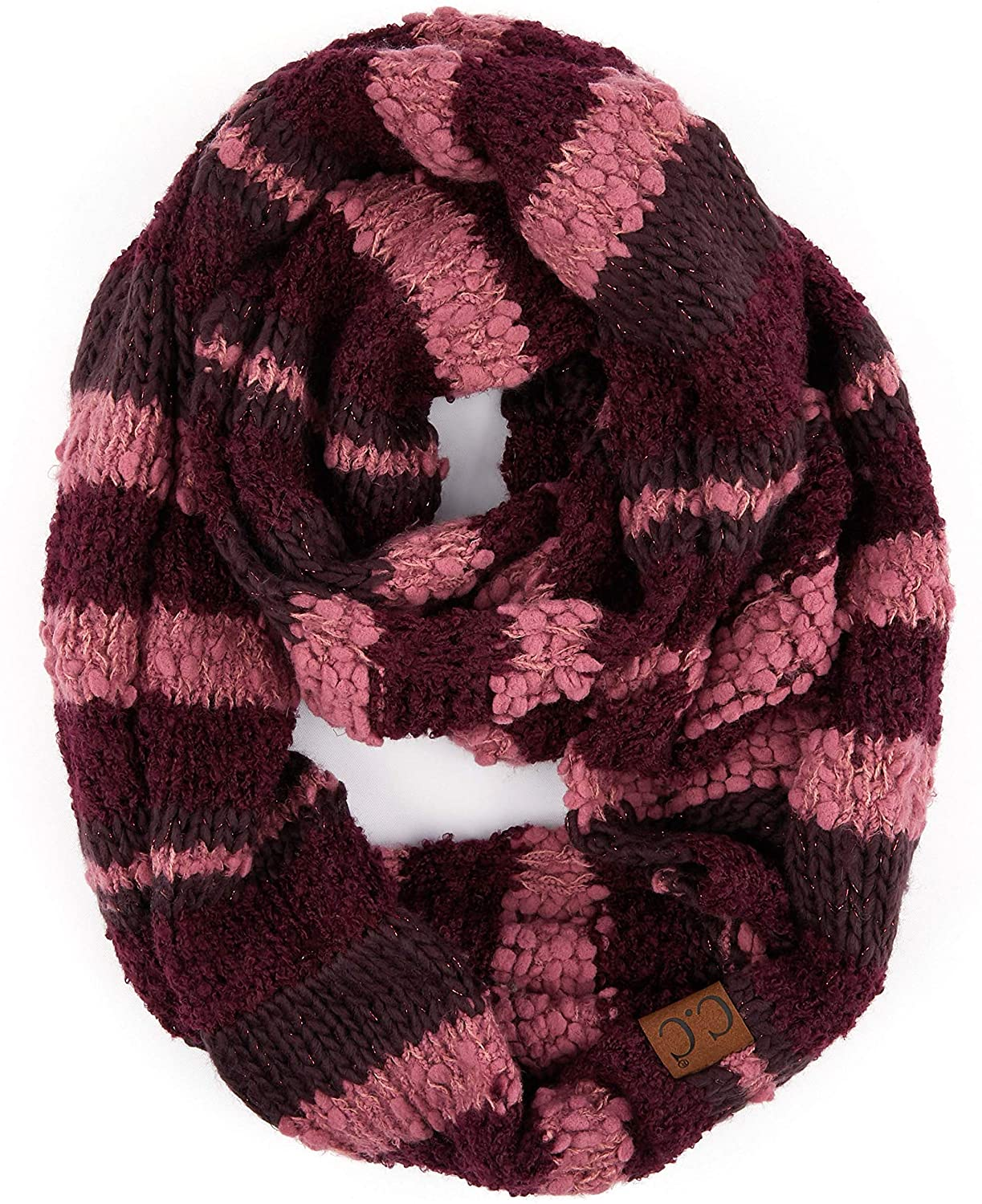 C.C Solid and Multi Color Cable Knit Soft Infinity Scarf (SF-800)(SF-6242)(SF-800)