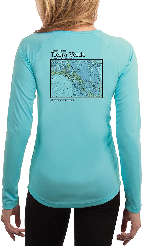 Coastal Classics Tierra Verde Nautical Chart Women's UPF 50+ UV/Sun Protection Long Sleeve T-Shirt