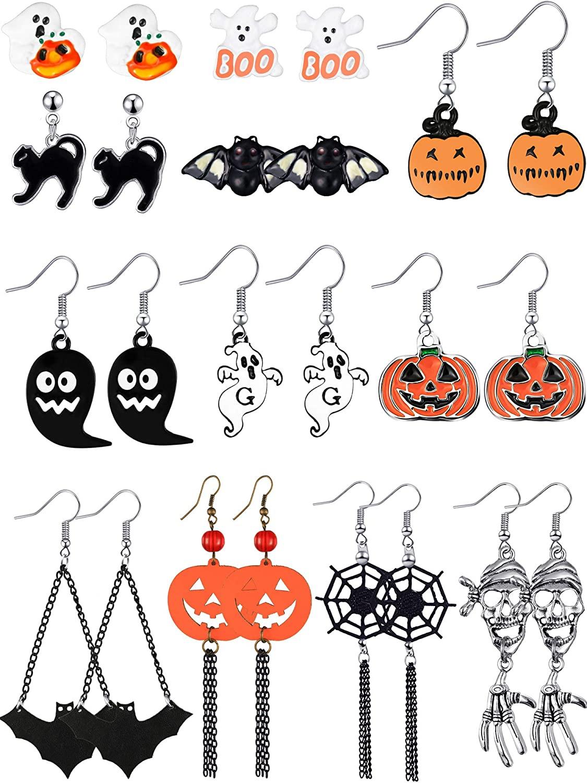 12 Pairs Halloween Theme Earrings Drop Dangle Earrings Pumpkin Earrings for Women Halloween Party Dress up