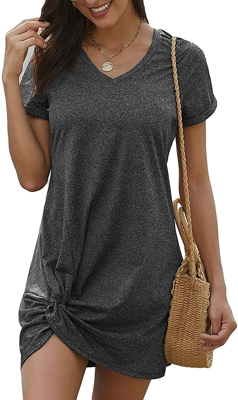 Urchics Womens Casual Short Sleeve Side Knot Loose Mini T Shirt Dress (S-XXXL)