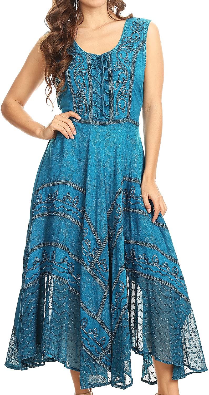 Sakkas Kevina Stonewashed Rayon Embroidered Dress