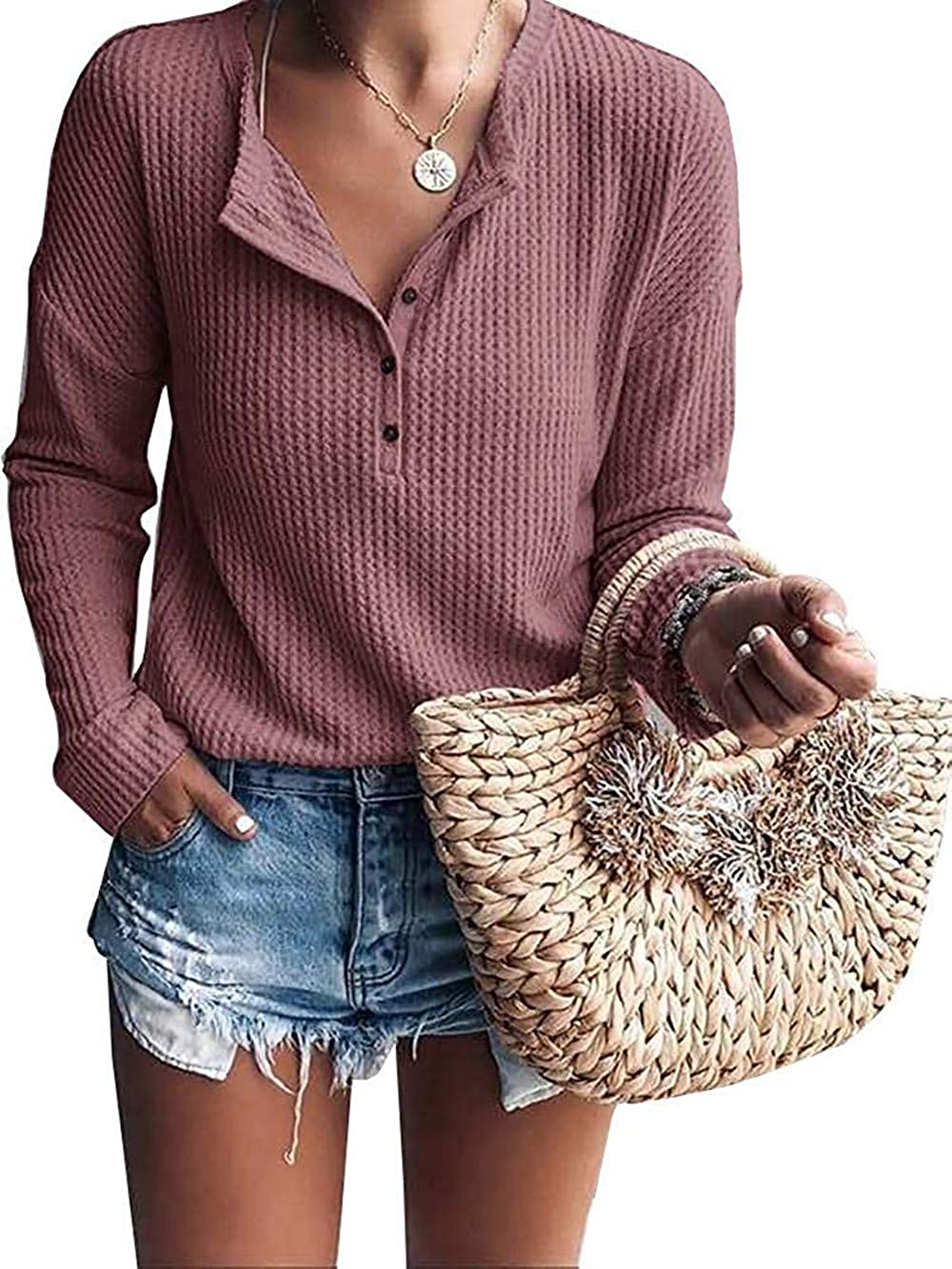 Women's Waffle Knit Tunic Tops Loose Long Sleeve Button Up V Neck Henley Shirts