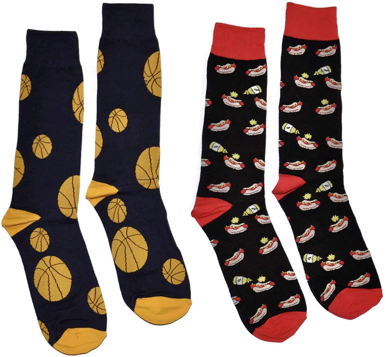 Bop Classy Mens Fun Novelty Crew Socks - 2 Pair Set