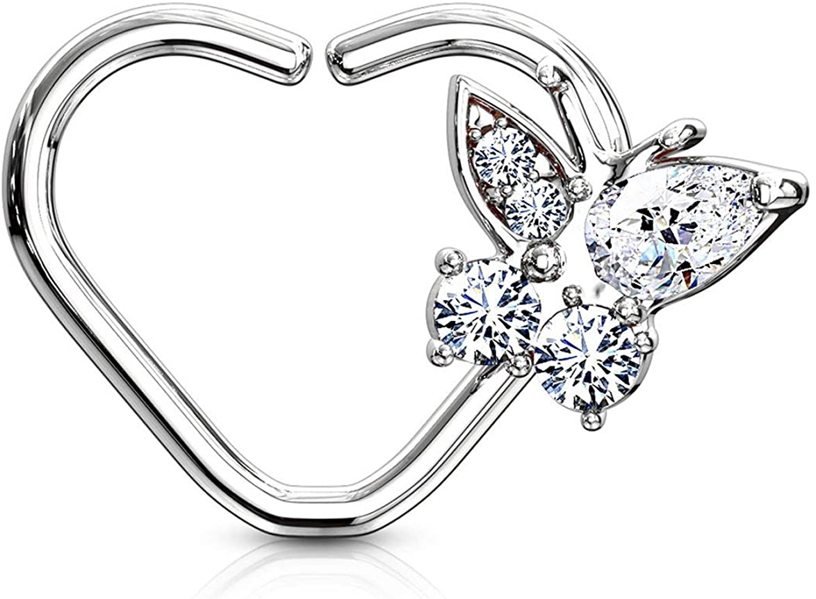 Forbidden Body Jewelry 16g Platinum & Gold Plated Heart w/CZ Butterfly Daith & Cartilage Hoop Earring