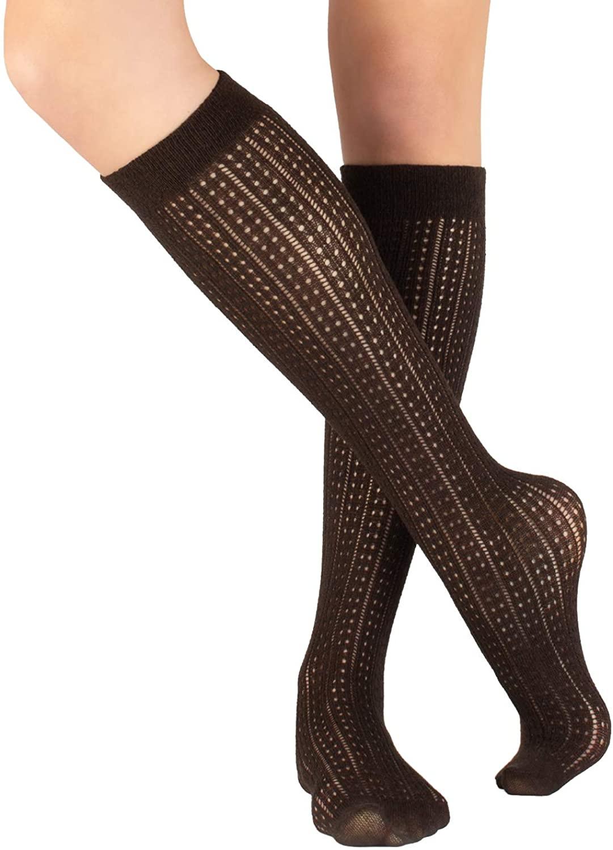 WOMEN COTTON KNEE SOCKS | KNIT HIGH SOCKS GIRL | SCHOOL WARM BOOT SOCKS | RIBBED AND CHEVRON SOCKS | 300 DEN | MADE IN ITALY