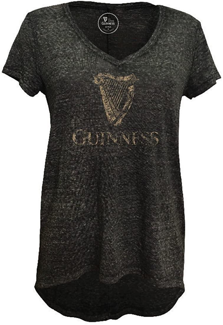 Guinness Grey Harp Crest Burnout Drop V-Neck T-Shirt