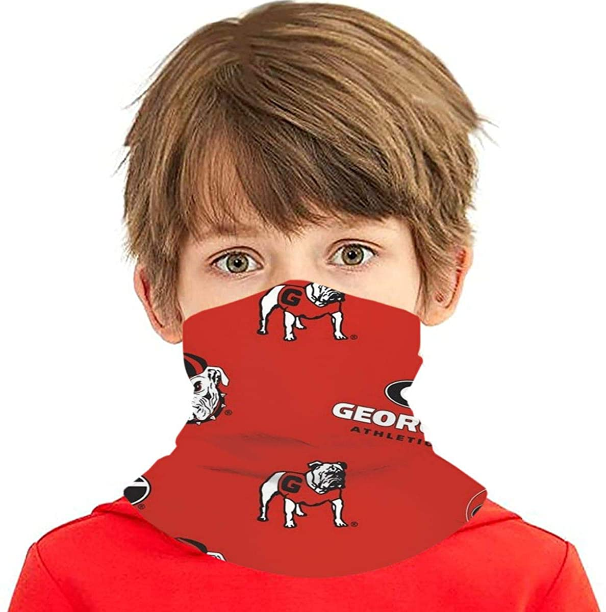 Unisex Kid Face Mask Georgia Bulldogs Muti-Style Headband Bandanas Mouth Cover Neck Gaiter Children Outdoor Dustproof Magical Multi-Function for Cycling Travel Girls Boys Gift