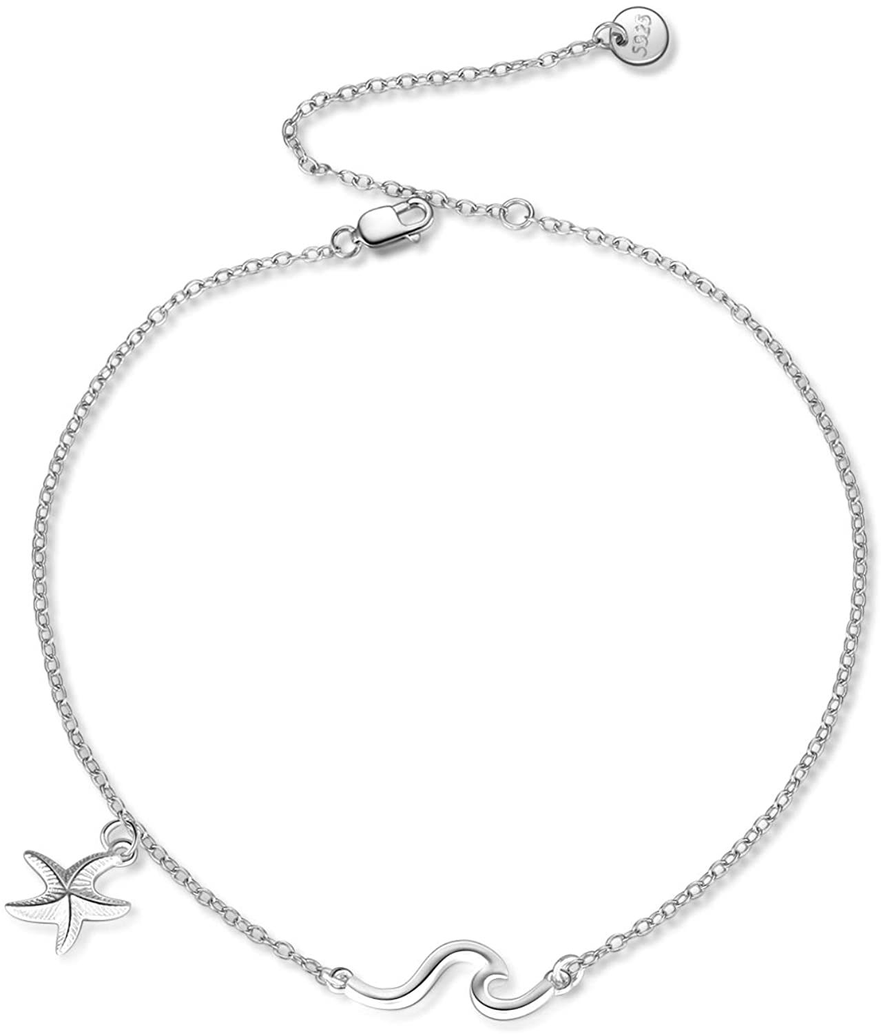 POPKIMI S925 Sterling Silver Anklets for Women Girls Jewelry Birthday Gifts