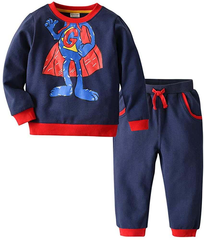 TENMET Baby Boys Cotton Clothing Set Long Sleeve Sweatshirt+Pants Outfit 12M-5T