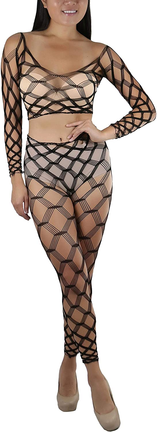 ToBeInStyle Women's Spandex Multi Fence Net Long Sleeves Cami Footless Tights