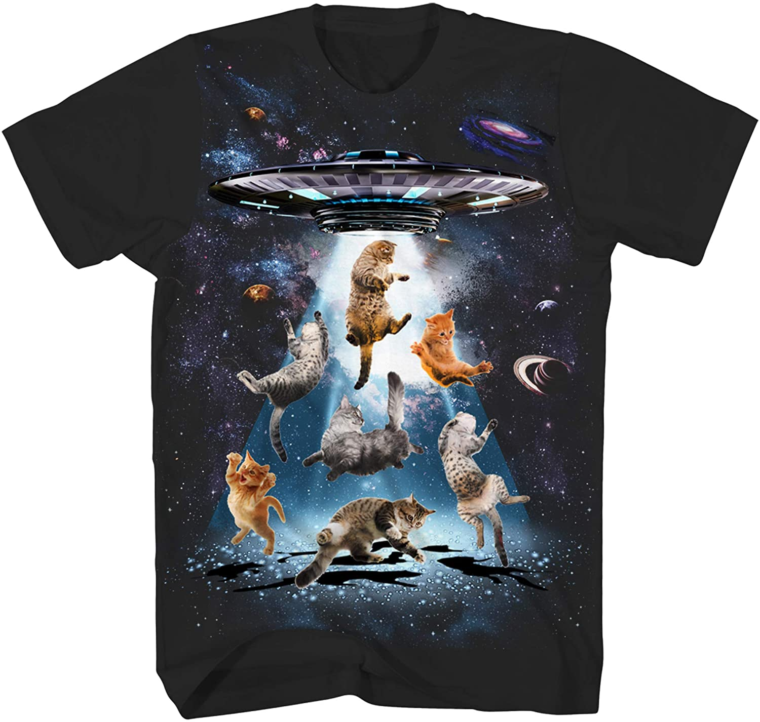 UFO Cats Kitten Cat Lover Outerspace Planets Stars Galaxy Funny Humor Pun Adult Tee Graphic T-Shirt for Men Tshirt