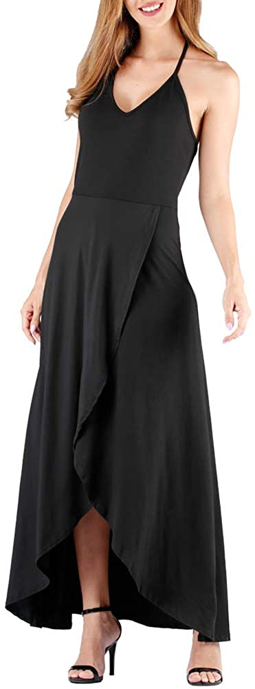 Women's Long Sleeve Loose Floral Maxi Dresses V-Neck Wrap Waist Casual Long Dresses with Pockets (Small, Black)