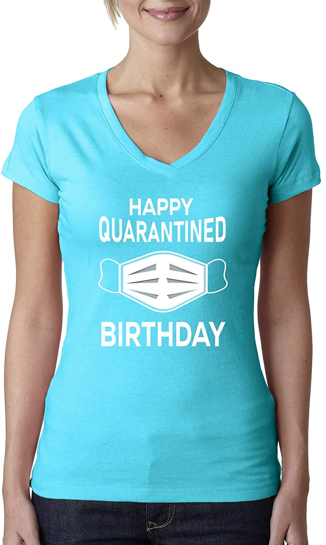 Happy Quarantined Birthday 2020 Isolation Flu Virus Social Distance Birthday Party | Womens Pop Culture Junior Fit V-Neck Tee