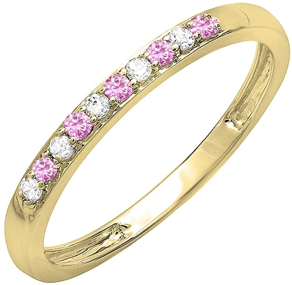 Dazzlingrock Collection 10K Round Gemstone & White Diamond Ladies Wedding Band Ring, Yellow Gold