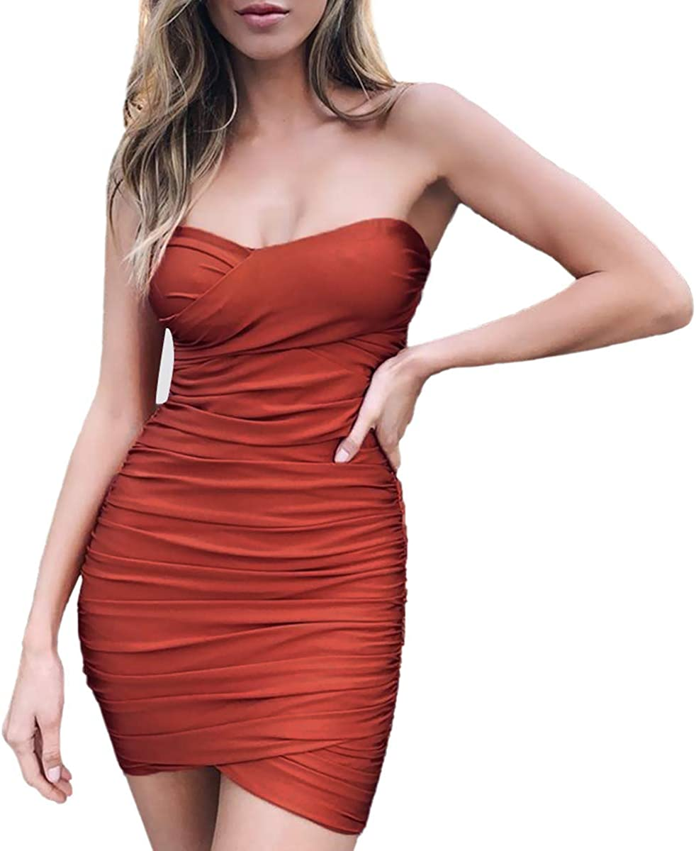 Women's Sexy Off Shoulder Strapless Sleeveless Cutout Backless Cross Hem Club Rushed Bodycon Dress 9516