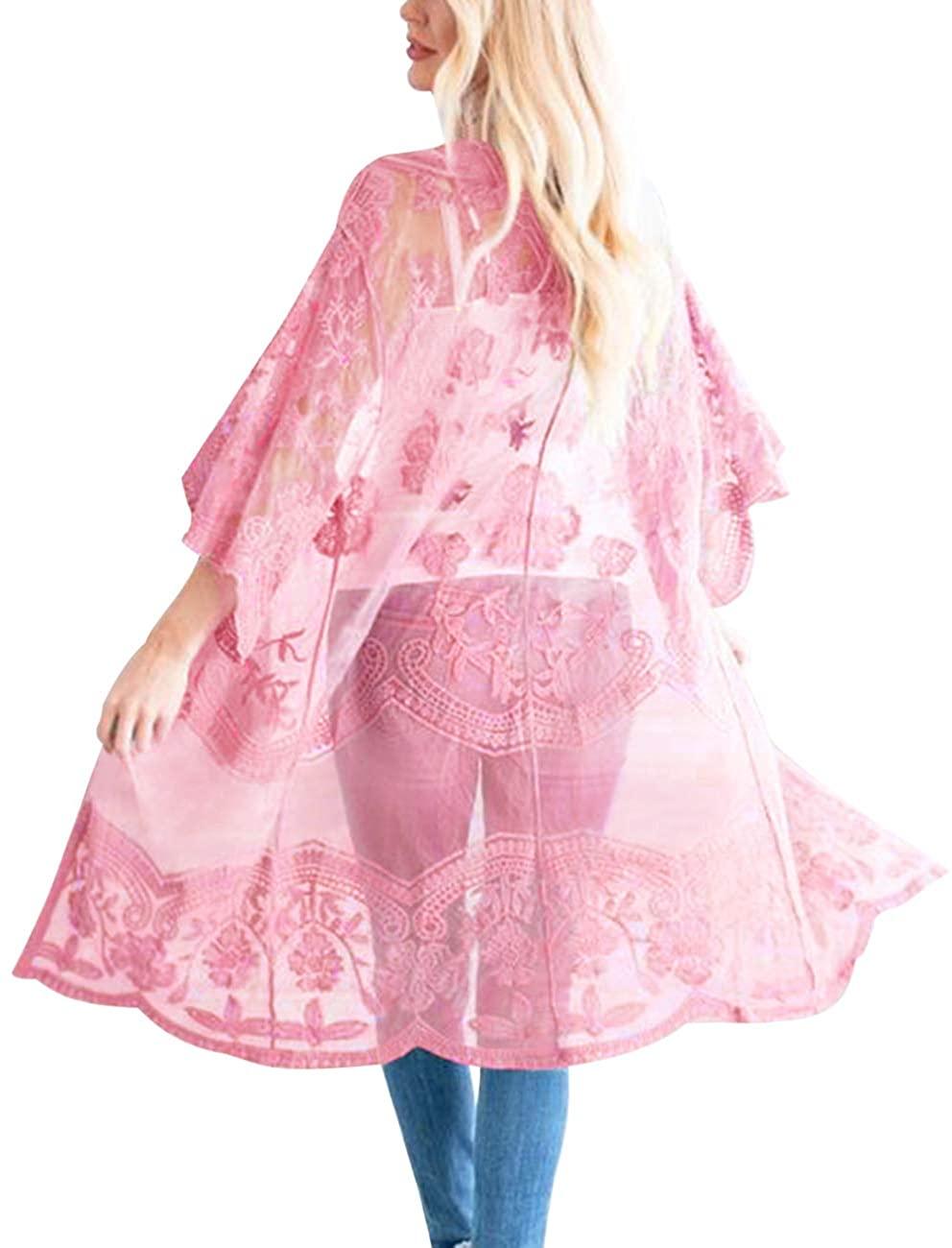 Romanstii Women's Lace Cardigan Floral Crochet Sheer Beach Cover Ups Long Kimono