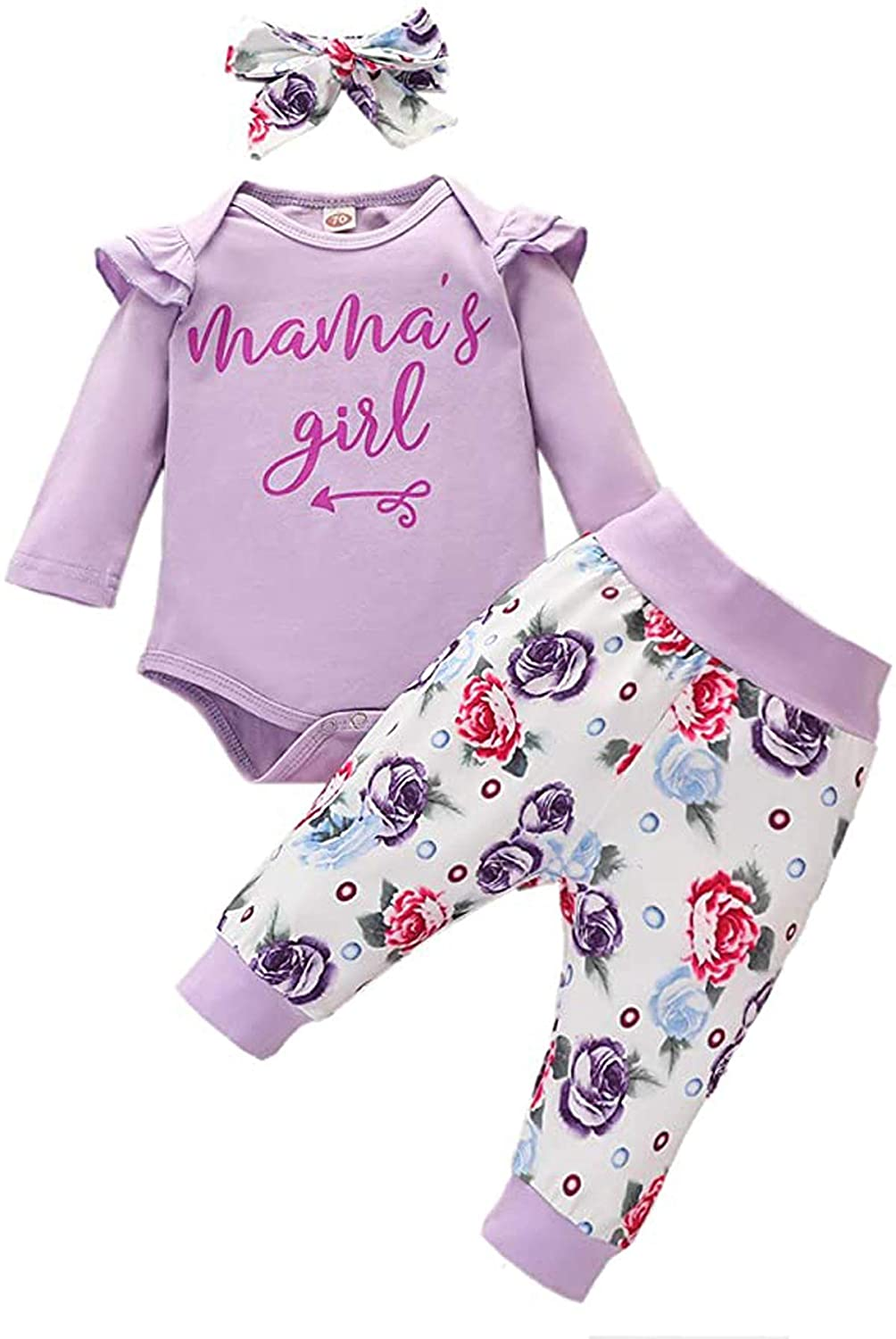 Infant Baby Girls Fall Outfits Ruffle Long Sleeve Romper+ Floral/Leopard Pants+Headband 3PCS Newborn Baby Girl Clothes Set