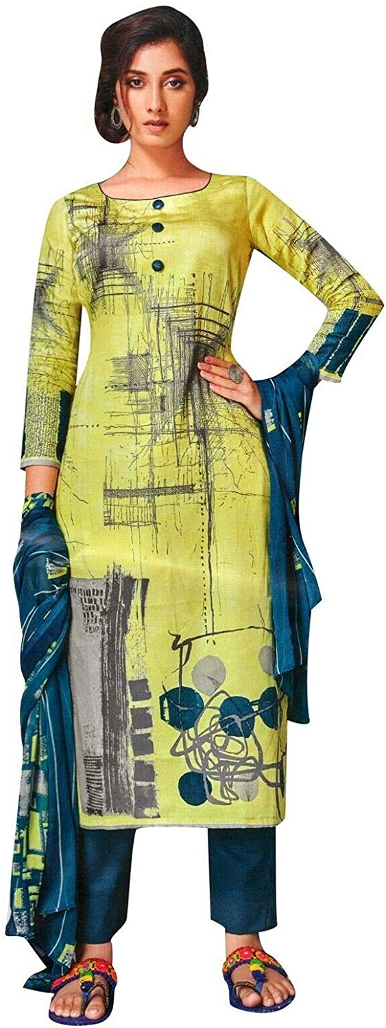ladyline Casual Cotton Printed Salwar Kameez Ready to Wear Indian Pakistani Dress Suit