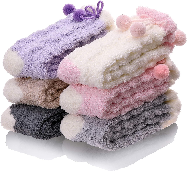 Womens Grils Fuzzy Slipper Socks Fluffy Soft Cute Warm Cozy Winter Christmas Socks 6 Pack