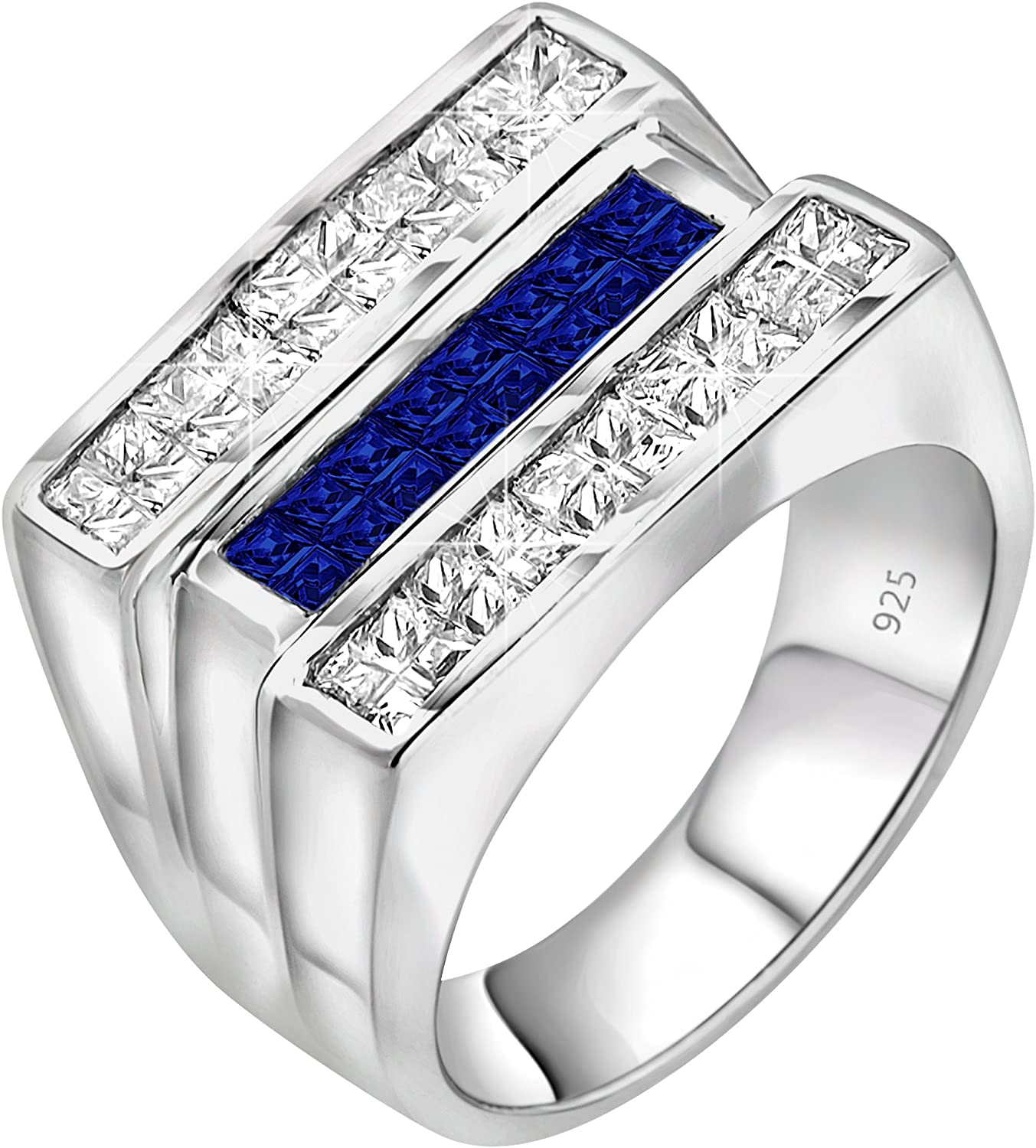 Men's Sterling Silver .925 Triple Row Ring White and Blue Invisible Channel Set Cubic Zirconia (CZ) Stones Platinum Plated Jewelry