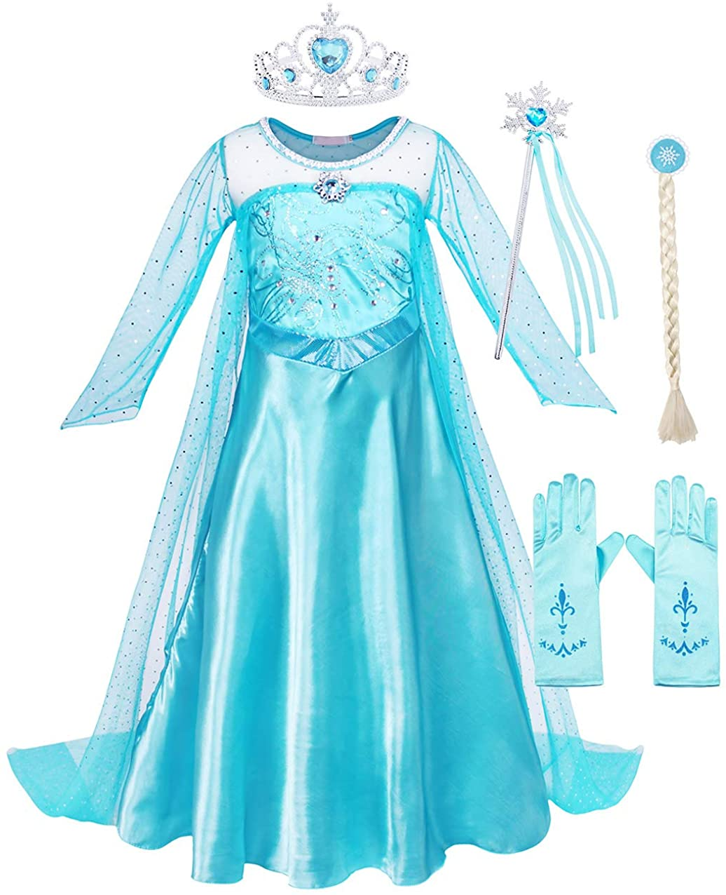 AmzBarley Girls Princess Costume Halloween Party Dress up Role Play Birthday Outfits Long Sleeve Tulle Dress