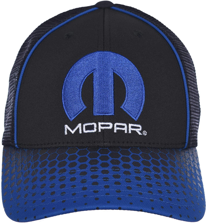 Checkered Flag Men's Mopar Cap an Adjustable Black & Blue Mesh Back Hat