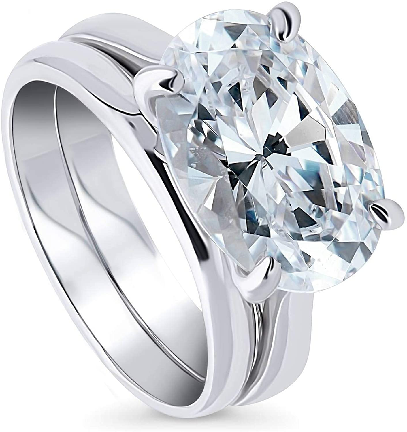 BERRICLE Rhodium Plated Sterling Silver Oval Cut Cubic Zirconia CZ East-West Solitaire Engagement Wedding Ring Set 5.5 CTW