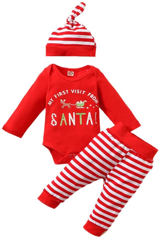 Fineday Girls Outfits Set, Newborn Infant Baby Girls Romper Striped Pants Hat Christmas Xmas Outfits Set, Clothes for Kids