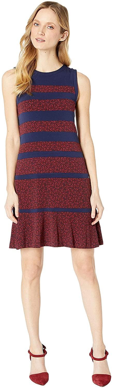 Michael Kors Womens Paisly Paneled A-Line Dress