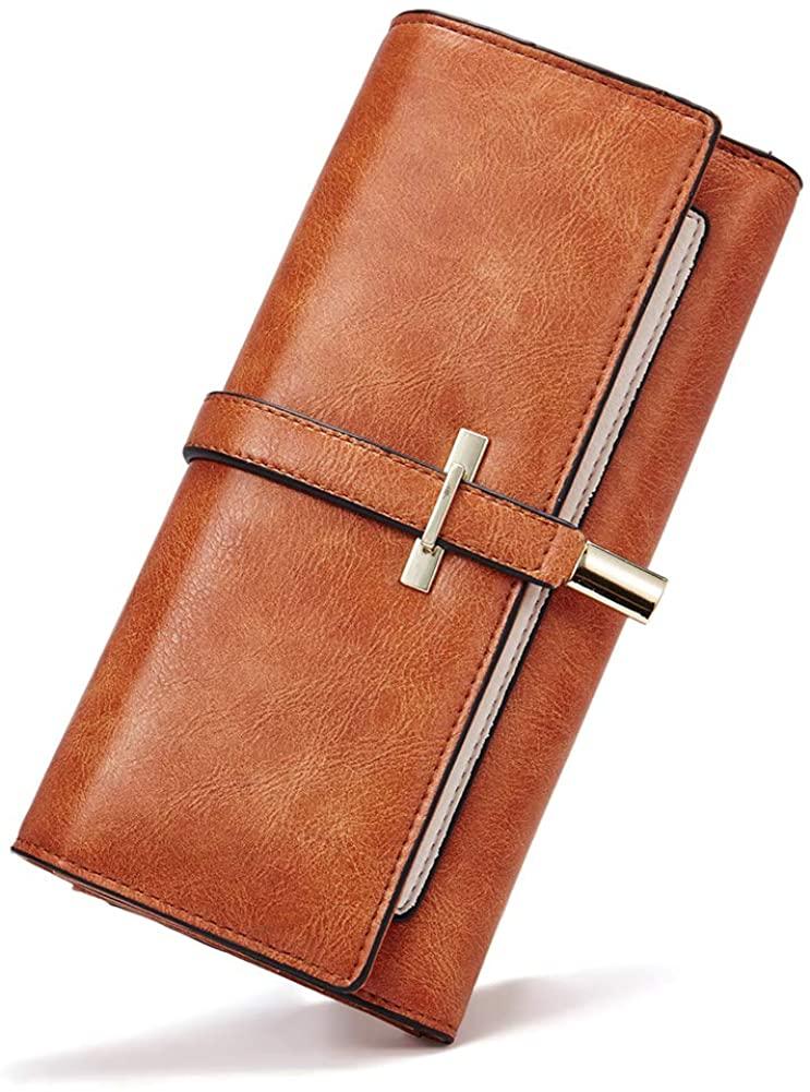 Leather Wallet for Women Slim Clutch Long Designer Trifold Ladies Credit Card Holder Organizer