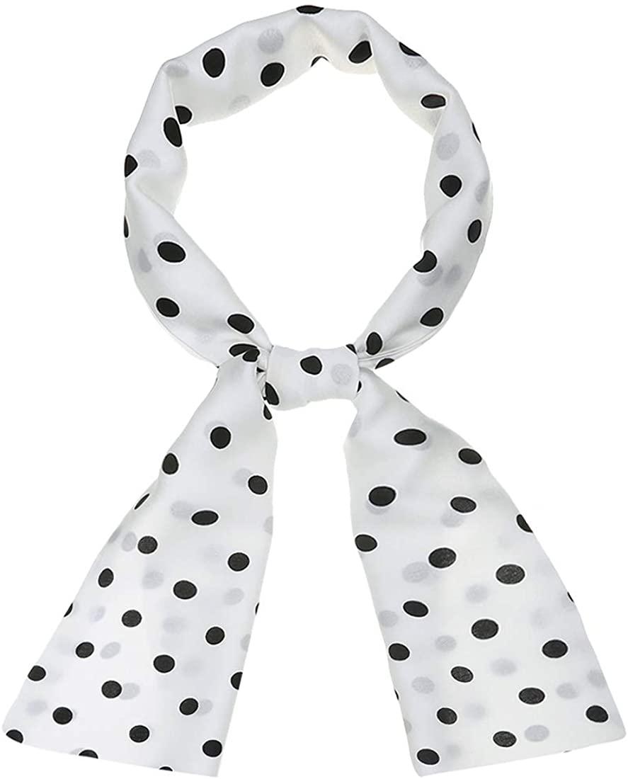 Allegra K Women Retro Polka Dots Skinny Scarf Neck Scarves Wrap Long Neckerchief Hair Tie