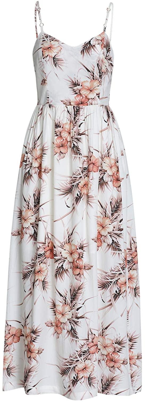 Grneric Women's V-Neck Floral Print Sleeveless Off-Shoulder Bohemian Dress
