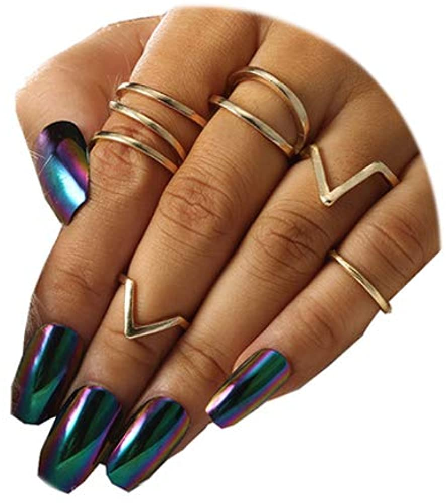 FUTIMELY 5-6PCS Simple Stackable Knuckle Rings Set for Women Teen Girls,Boho Vintage Gold Joint Midi Finger Rings Jewelry