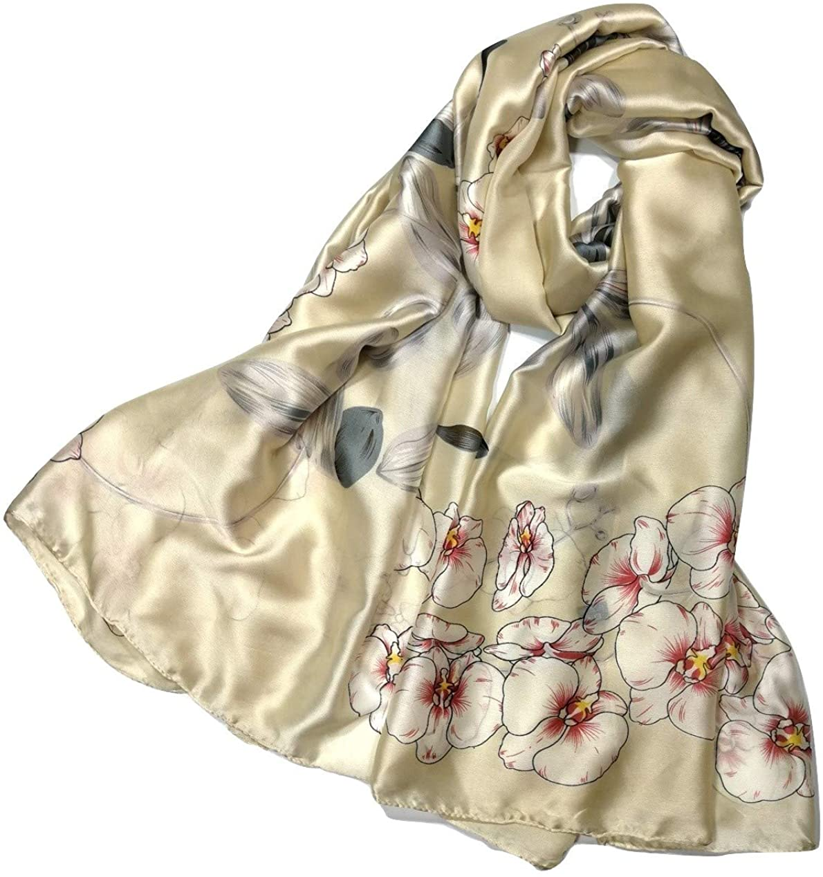 Shanlin Silk Feel Long Floral Satin Scarves for Women in Gift Box