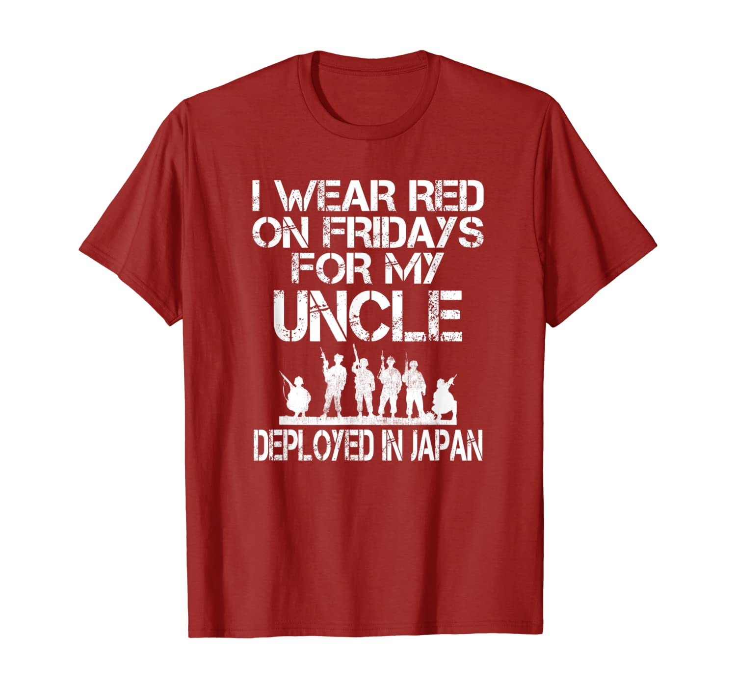 I Wear Red On Fridays Uncle US Military Deployed In Japan T-Shirt