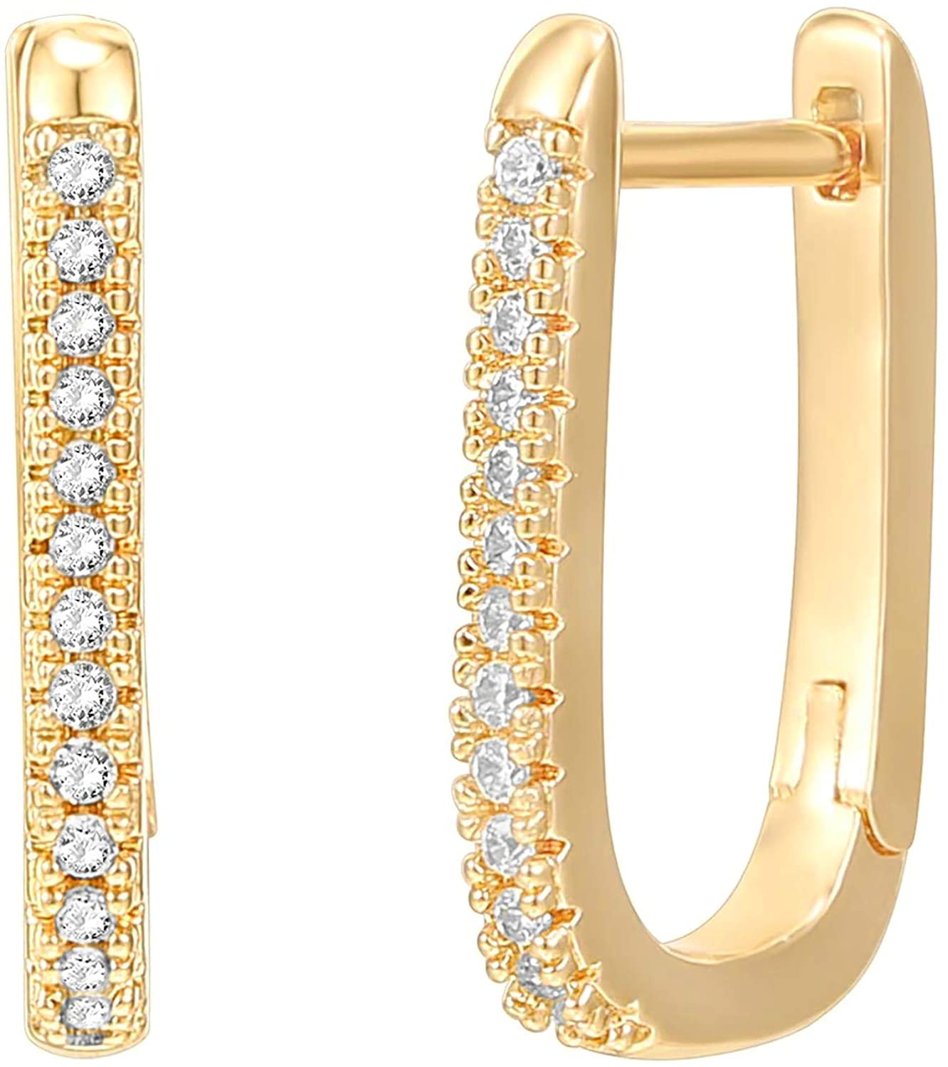 PAVOI 14K Gold Plated 925 Sterling Silver Cubic Zirconia U-Shaped Huggie Earrings in Rose Gold, White Gold and Yellow Gold