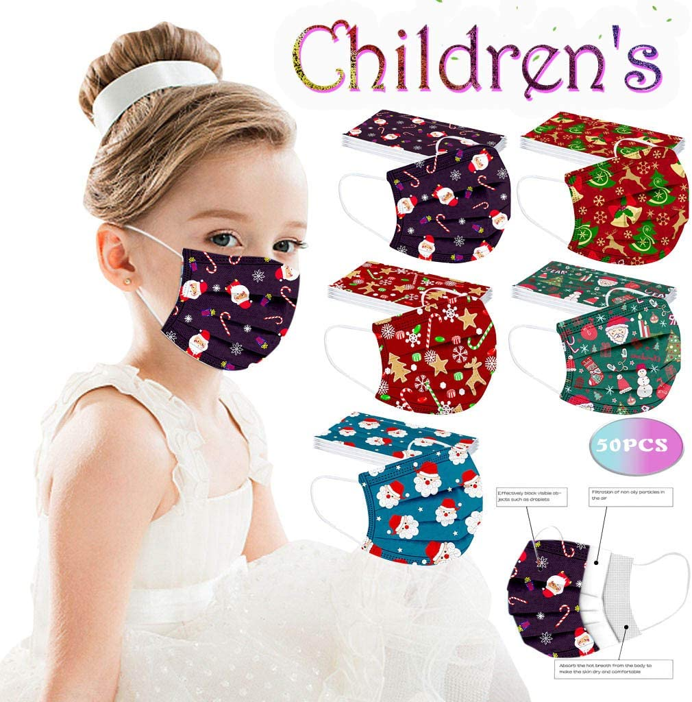 Yinella 50PCS Mixed Kids Christmas Cute Cartoon Printed 3 Ply Bandanas Breathable Comfortable Childrens Daily Use Outdoor School Supplies