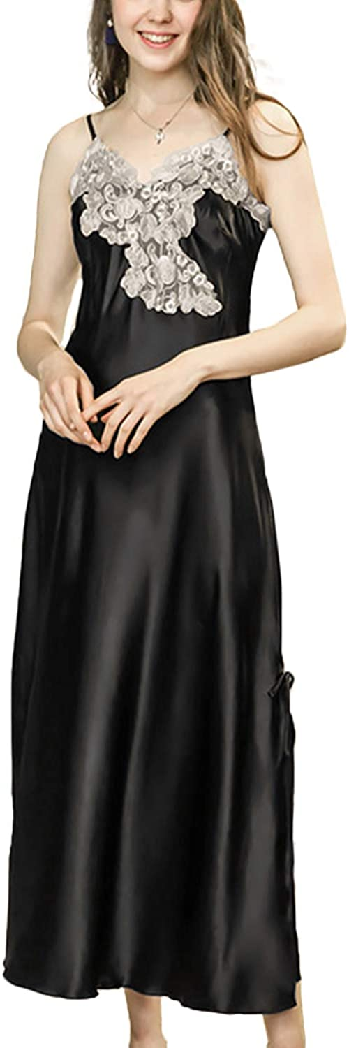 Asherbaby Women's Sexy Satin Long Nightgown Lace Slip Lingerie Chemise Robes