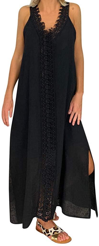 Dresses for Women Casual Summer, Womens Summer Dresses Lace Vintage Bohemian V Neck Plus Size Print Sleeveless Maxi Dress