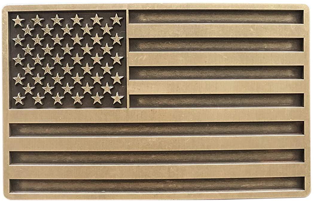 Vintage Bronze Plated American USA Flag Belt Buckle for Men