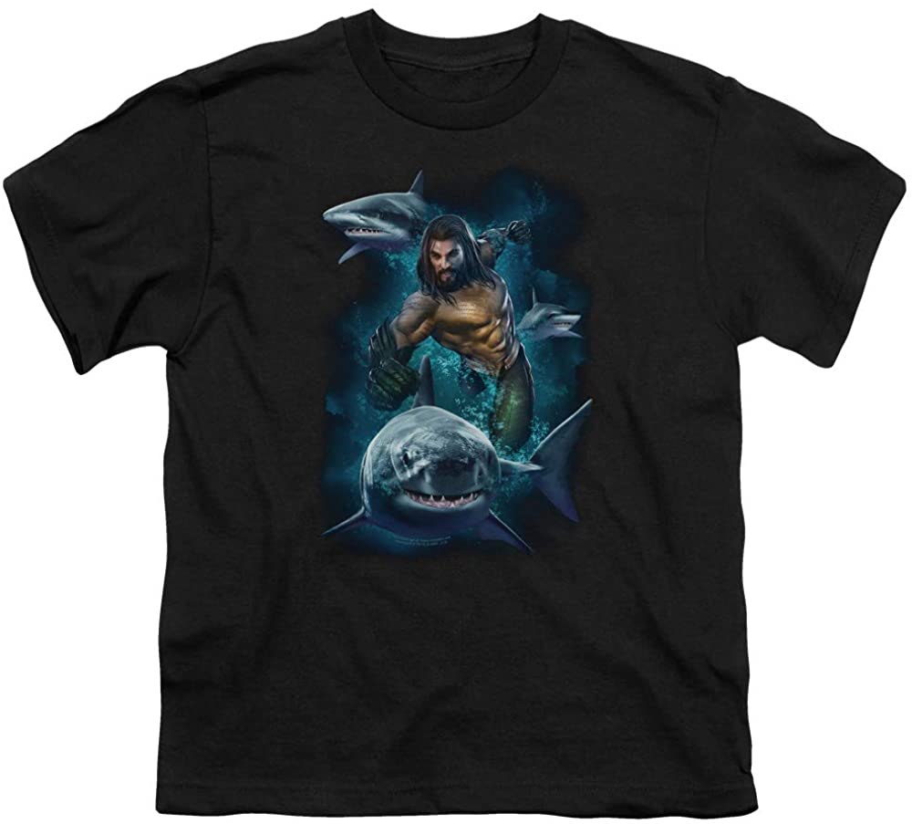 Aquaman Movie Kids T-Shirt Swimming with Sharks Black Tee